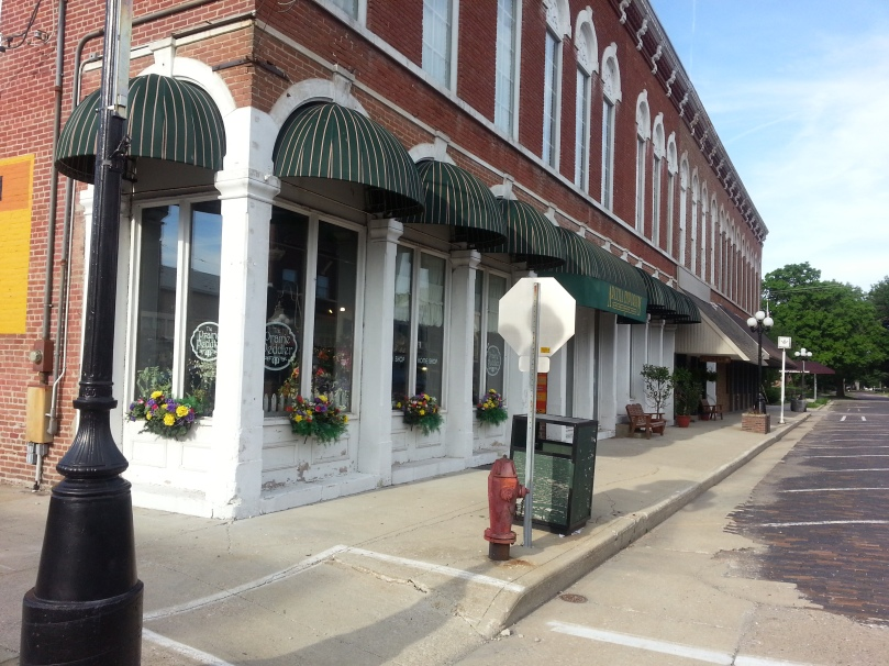 Brick streets and buildings like this.  A little town on the prairie...