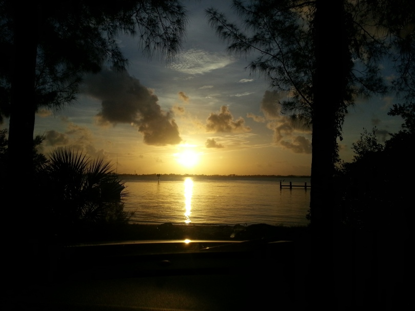 sunrise over intercoastal waterway.