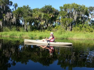 Cousin Mark in his new fishing kayak.