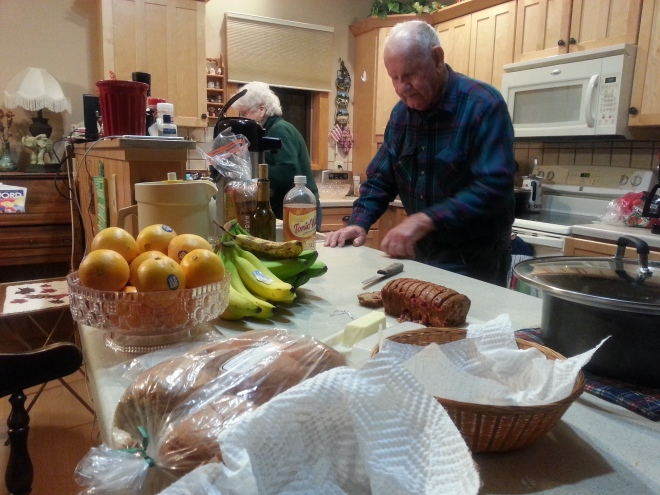Dad, hard at work, last Thanksgiving.  Such a great time.