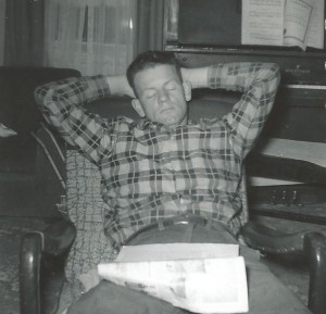 I have many pictures like this.  If he sat still, he couldn't stay awake. Hard worker.