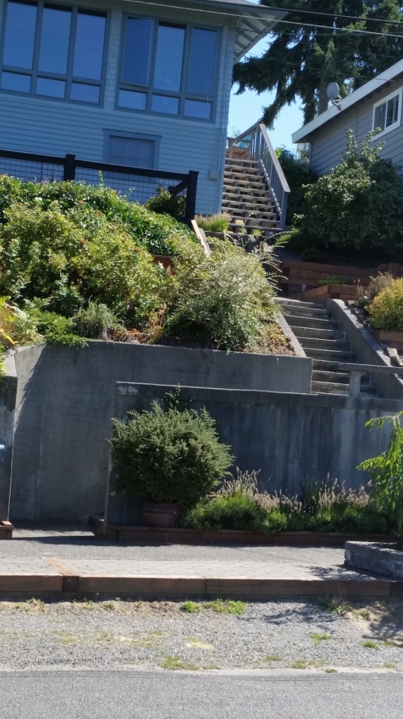 Seriously, some residents park on the street and climb up to their houses...