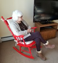 Mom in her red chair