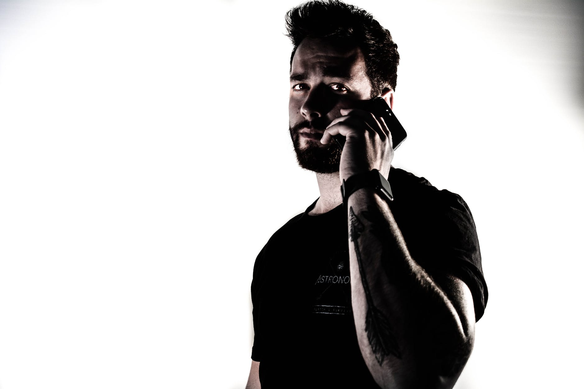 adult beard casual cellphone